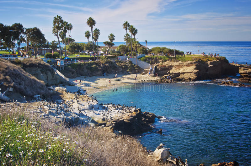 La Jolla Cove, California. A picture perfect sunny Sunday afternoon in November at the La Jolla Cove, in La Jolla near San Diego, southern California, on the stock images
