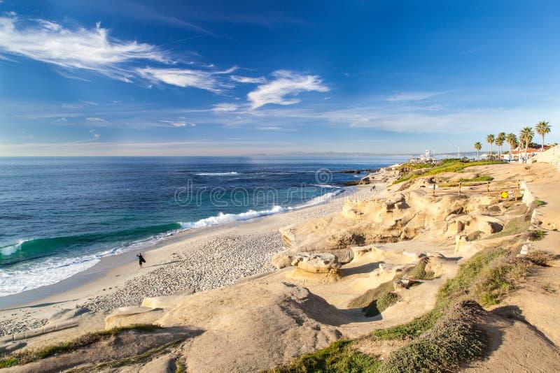 La Jolla liten vikstrand, San Diego, Kalifornien arkivfoto