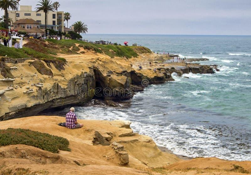 La Jolla strandliten vik i sydliga Kalifornien arkivbild