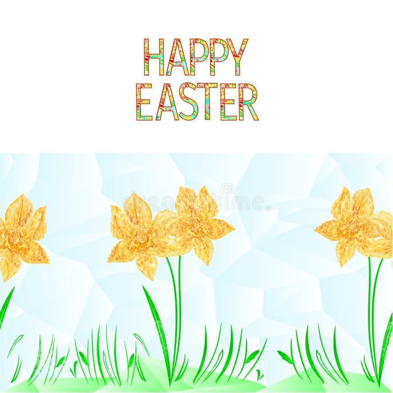 La jonquille sans couture de fond de frontière heureuse de Pâques avec des polygones d'herbe dirigent l'illustration pour l'usage illustration de vecteur
