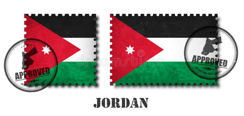 La Jordanie ou le timbre-poste jordanien de modèle de drapeau avec la vieille texture grunge d'éraflure et apposent un scellé sur illustration libre de droits