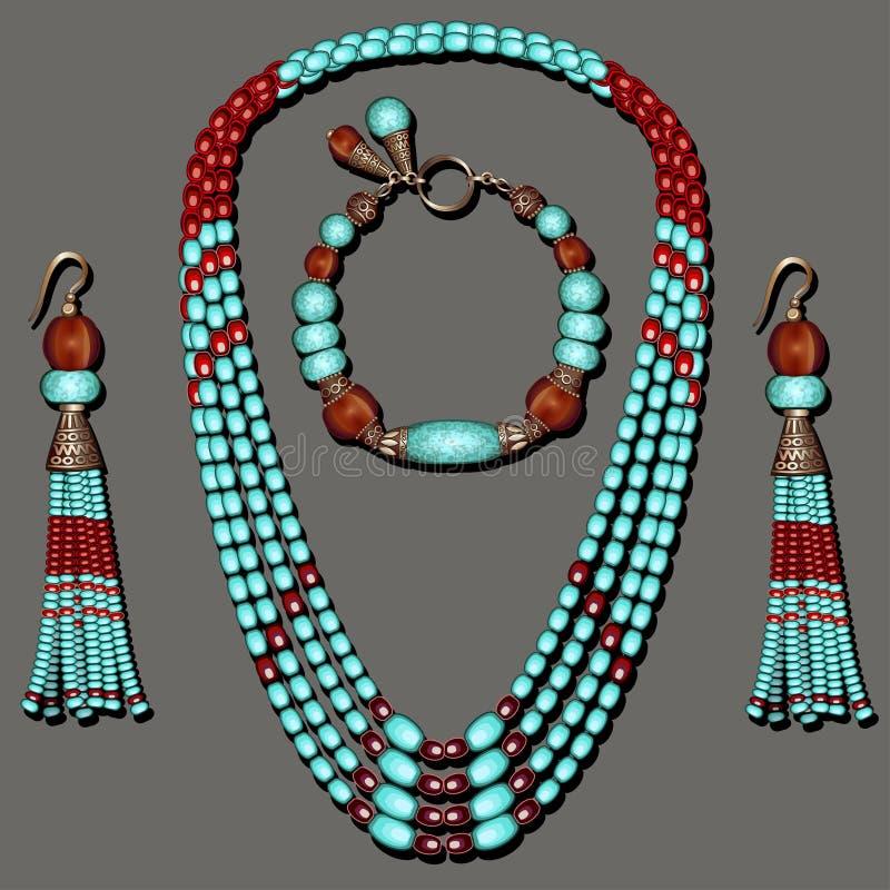 la joyería fijada con turquesa goteó los pendientes azules y marrones con las borlas stock de ilustración