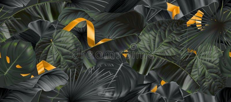 La jungle foncée part avec le modèle sans couture de rubans d'or, fond du vecteur 3d illustration de vecteur