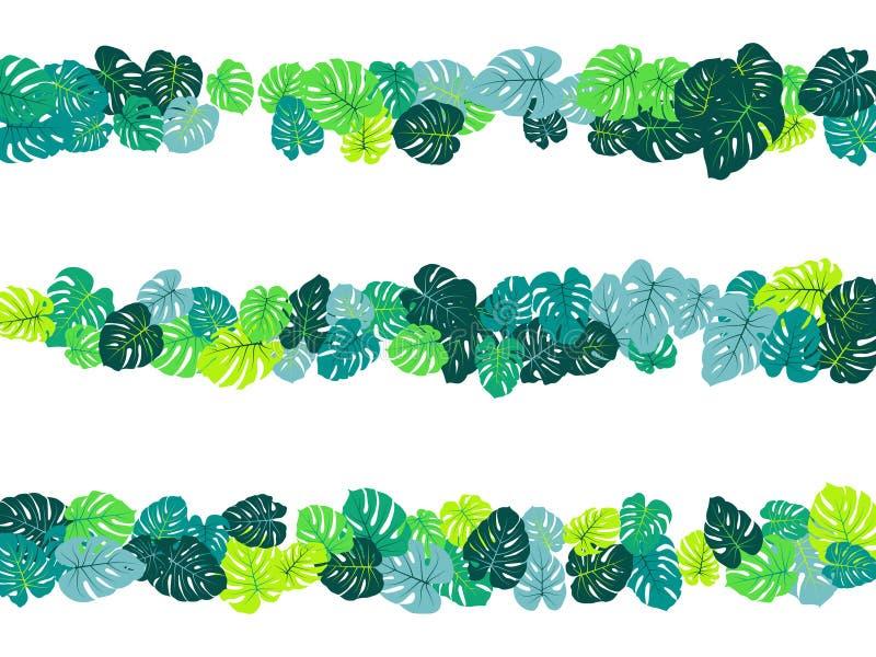 La jungle tropicale bleu vert part de la dispersion de vecteur illustration stock