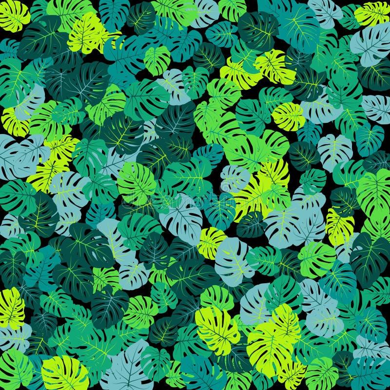 La jungle tropicale de turquoise part de la dispersion de vecteur illustration libre de droits
