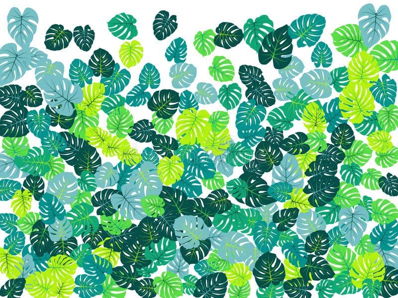 La jungle tropicale de vert de mer part de la dispersion de vecteur illustration de vecteur