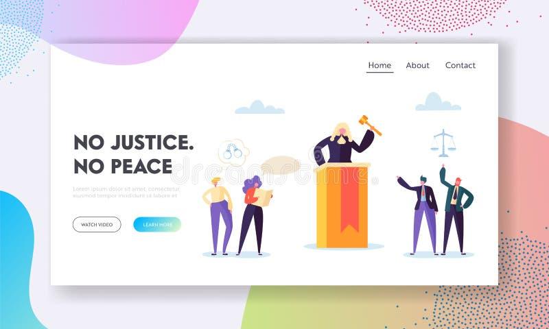 La justice est page d'atterrissage de paix Le juge Hears Evidence Presented, évaluent la crédibilité et l'interprétation basée ac illustration stock