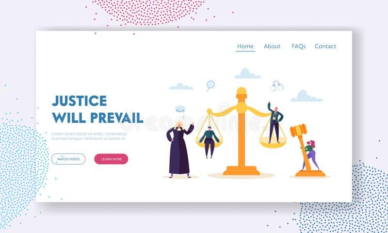 La justice régnera page d'atterrissage Le juge Hears Witness et les preuves présentées par l'avocat du cas, évaluent l'argument d illustration libre de droits
