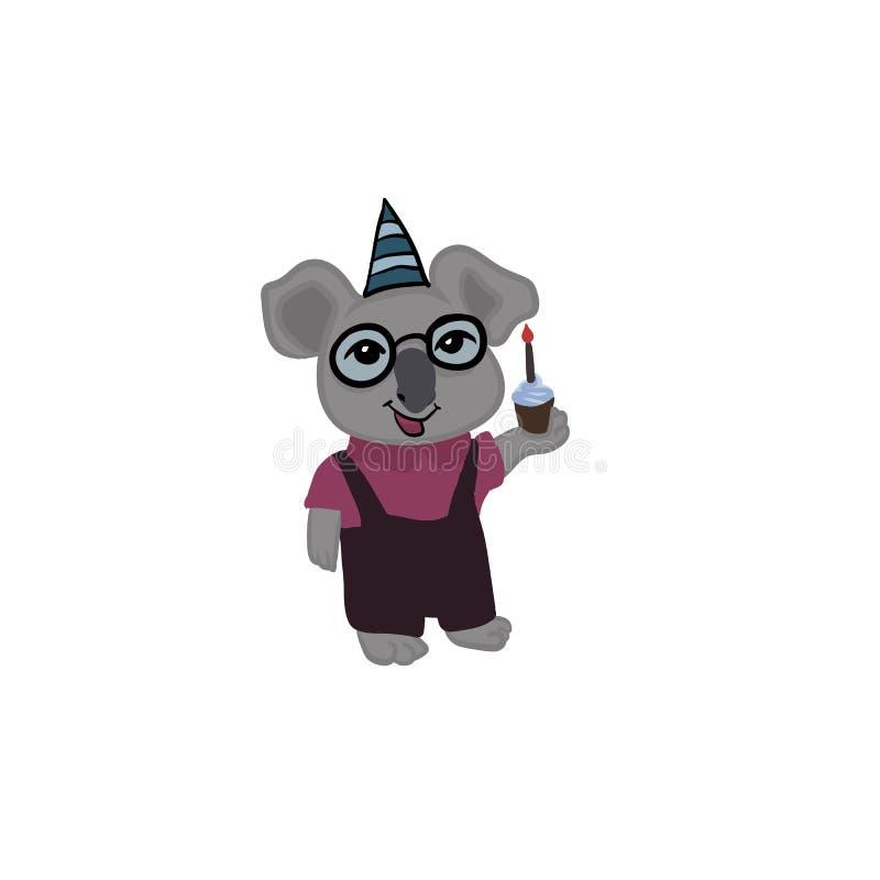 La koala gloriosa celebra il suo compleanno royalty illustrazione gratis