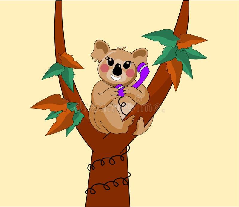 La koala riguarda l'albero sul telefono fotografia stock