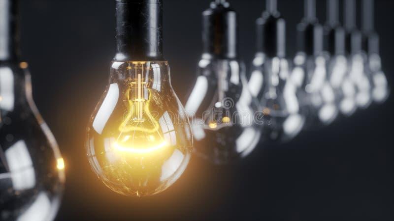 La lámpara eléctrica del bulbo que brilla intensamente en fila de lámparas La estafa única ilustración del vector