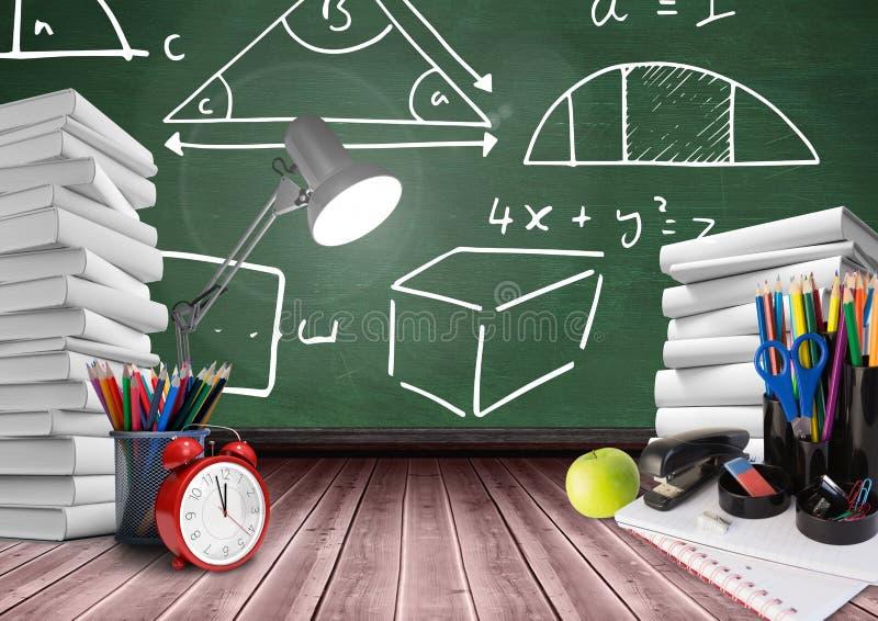 La lámpara en primero plano del escritorio con los gráficos de la pizarra de la matemáticas diagrams stock de ilustración
