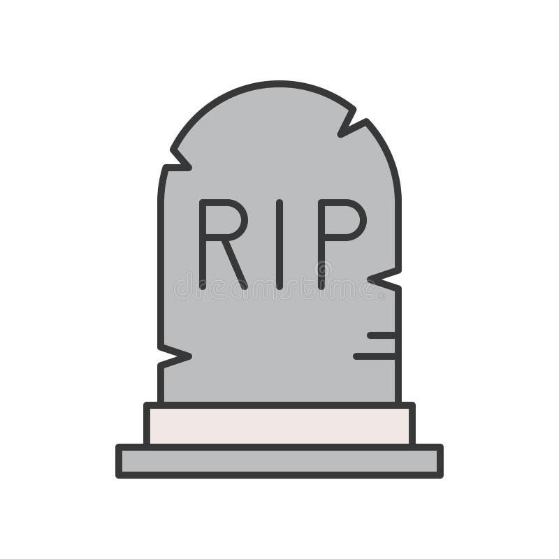 La lápida mortuaria con el alfabeto del rasgón, Halloween relacionó el st editable del icono ilustración del vector