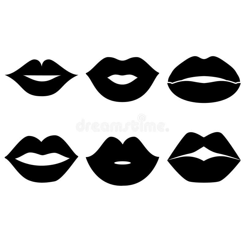 La lèvre de la femme fait des gestes l'ensemble d'icônes Icône de la lèvre de la femme illustration de symbole de lèvre illustration libre de droits