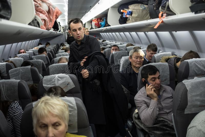La línea aérea rusa Azimut imagen de archivo libre de regalías