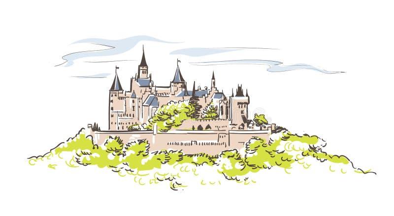 La línea arte aisló bosquejo del vector del castillo de Hohenzollern stock de ilustración