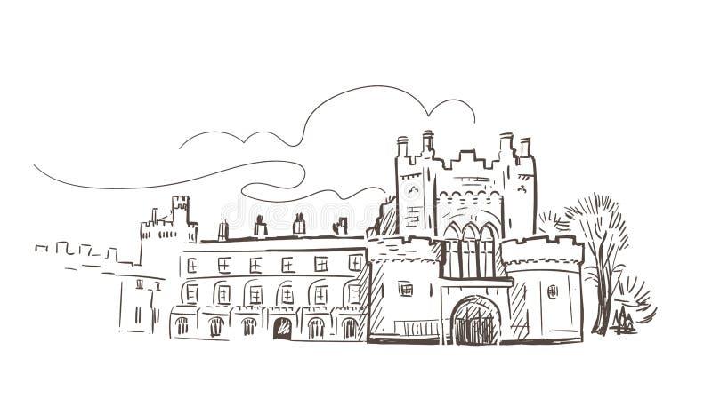 La línea arte aisló bosquejo del vector del castillo de Kilkenny ilustración del vector