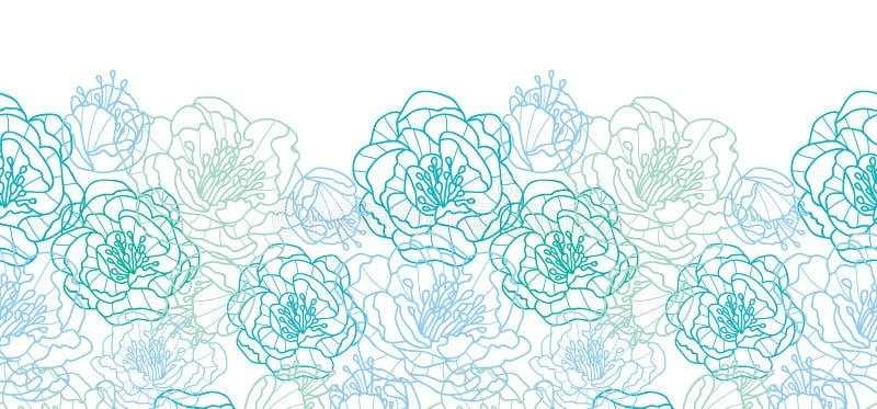 La línea arte azul florece el modelo inconsútil horizontal ilustración del vector