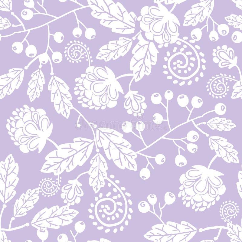 La línea arte púrpura florece el modelo inconsútil ilustración del vector