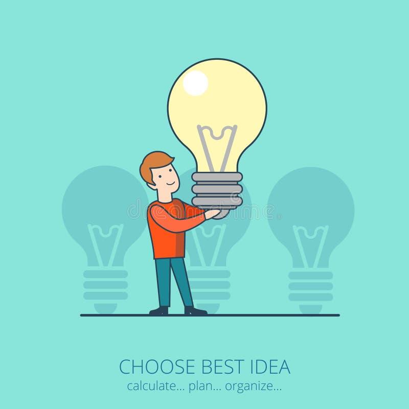 La línea arte plana elige la mejor lámpara s del hombre de idea del negocio stock de ilustración