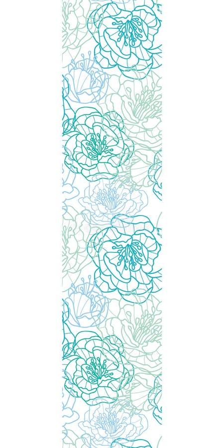 La línea azul arte del vector florece la frontera vertical stock de ilustración