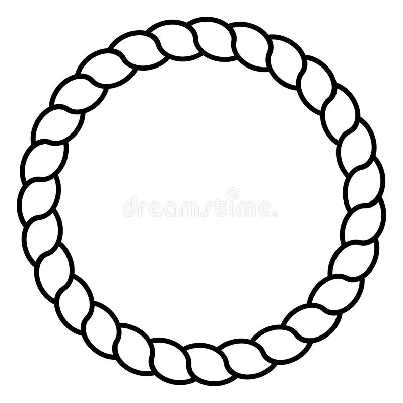 La línea blanco y negro monocromática arte de marco de la cuerda del círculo aisló vector libre illustration