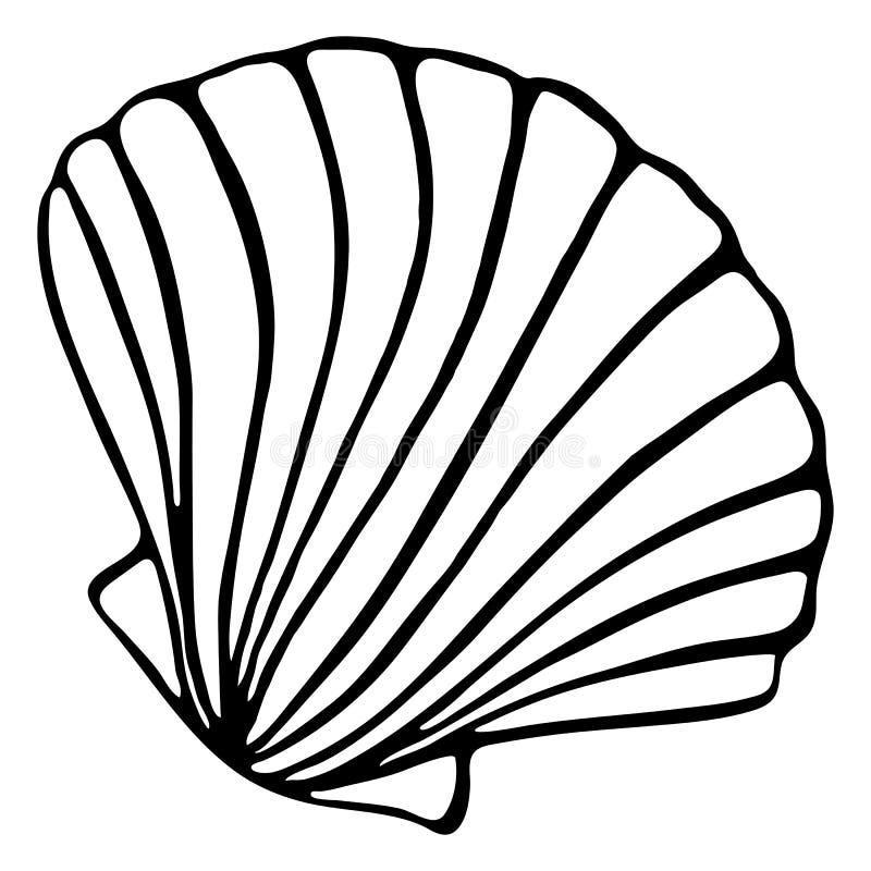 La línea blanco y negro monocromática bosquejo de la tinta de la silueta de la concha marina de la cáscara del mar del arte aisló stock de ilustración