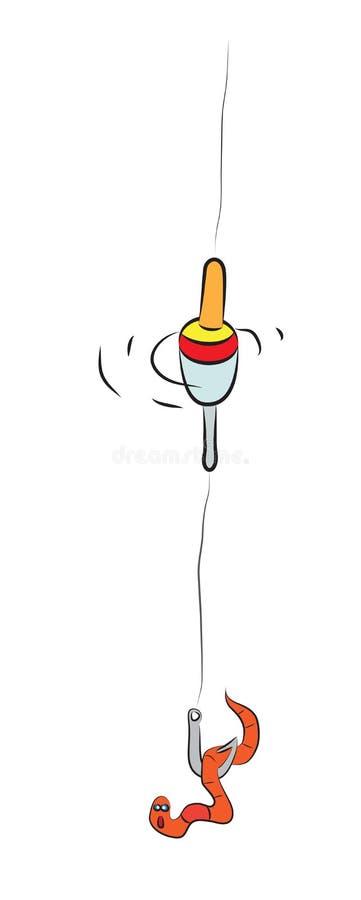 La línea con el flotador, el gancho y el gusano muerden stock de ilustración