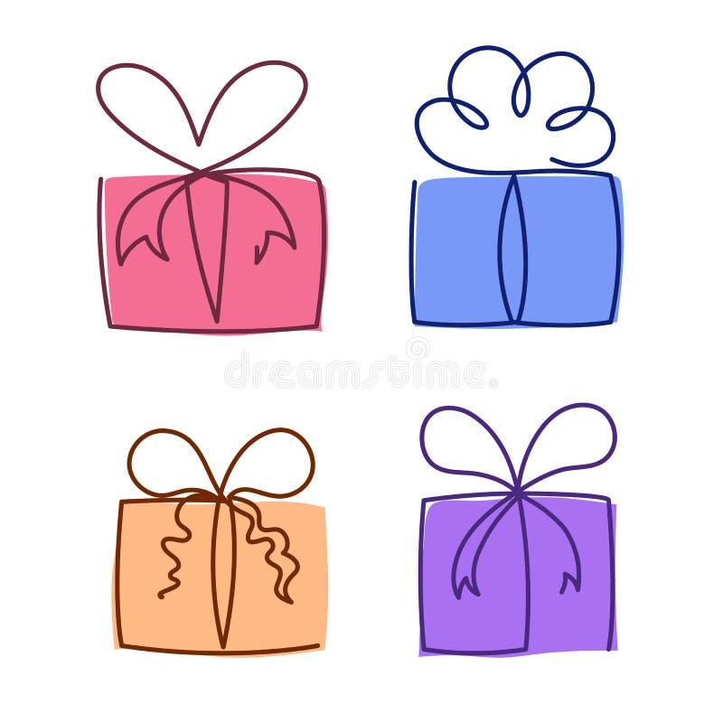 La línea continua ejemplo de la caja de regalo del vector fijó - colorida los paquetes editable dibujados diversa mano del presen ilustración del vector