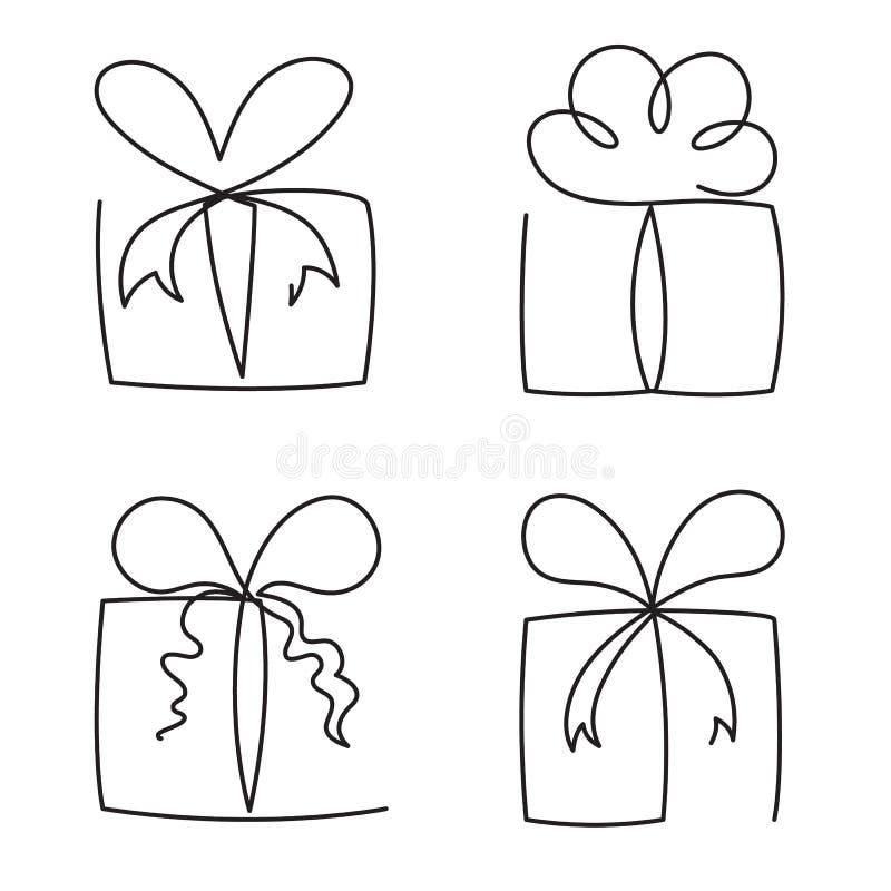 La línea continua ejemplo de la caja de regalo del vector fijó - los paquetes editable dibujados diversa mano del presente del es ilustración del vector