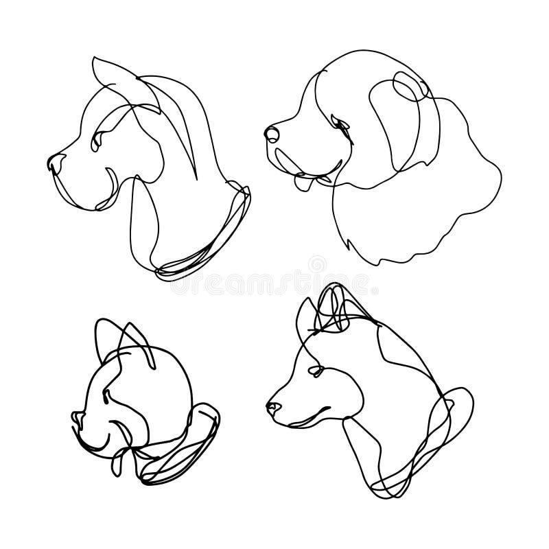 La línea continua sistema del perro, contiene 4 razas: great dane, perro perdiguero, dogo francés y perro esquimal Estilo exhaust ilustración del vector