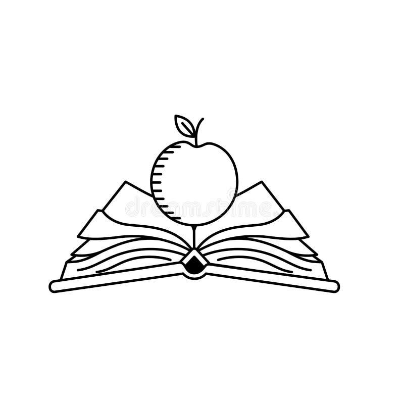 La línea cuaderno abierto con los papeles y la manzana dan fruto libre illustration