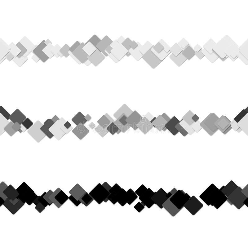 La línea cuadrada abstracta repetible diseño de la regla del texto del modelo fijó - vector los elementos del diseño de cuadrados stock de ilustración