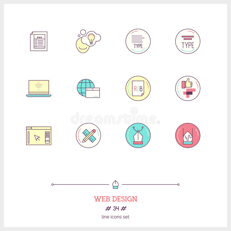 La línea de color sistema del icono del proceso del trabajo del diseño web se opone UI y U stock de ilustración