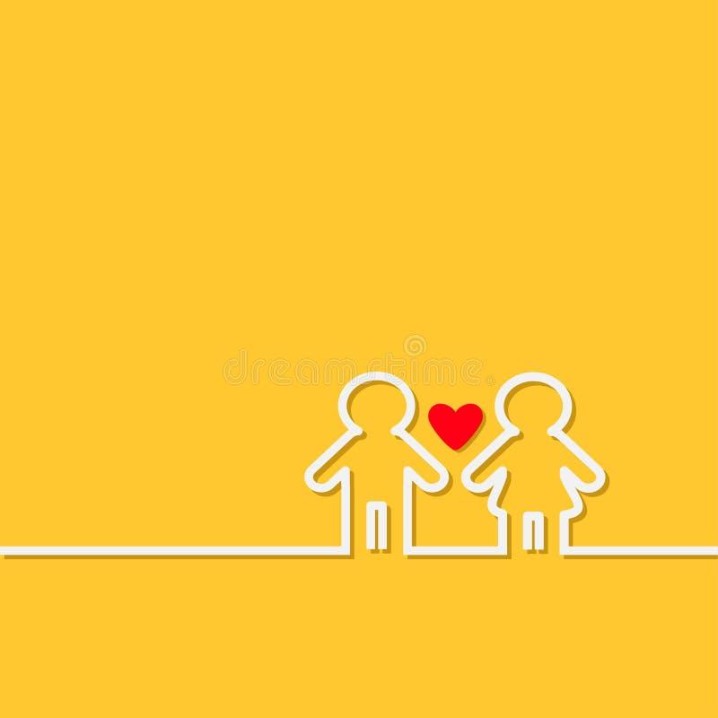 La línea de contorno blanca del hombre y de la mujer símbolo del lavabo del icono amarillea diseño plano del corazón rojo del fon stock de ilustración