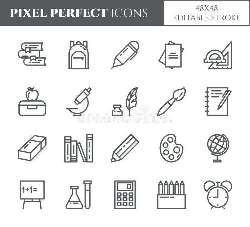La línea de fuentes de escuela iconos perfectos del pixel editable fijó con los diversos elementos para el proceso del estudio y  ilustración del vector
