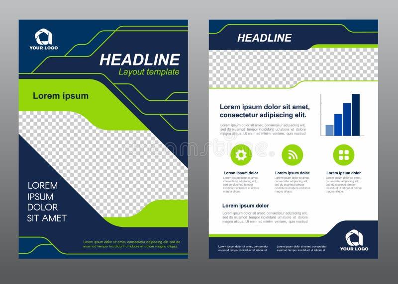 La línea de la luz verde de la página de cubierta del tamaño A4 de la plantilla del aviador de la disposición y el vector azul ma ilustración del vector