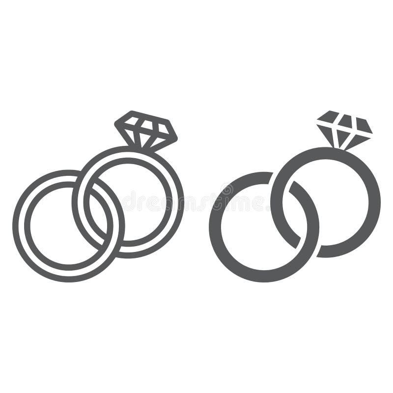 La línea de los anillos de bodas y el icono del glyph, la joyería y el matrimonio, dos anillos firman, los gráficos de vector, un stock de ilustración