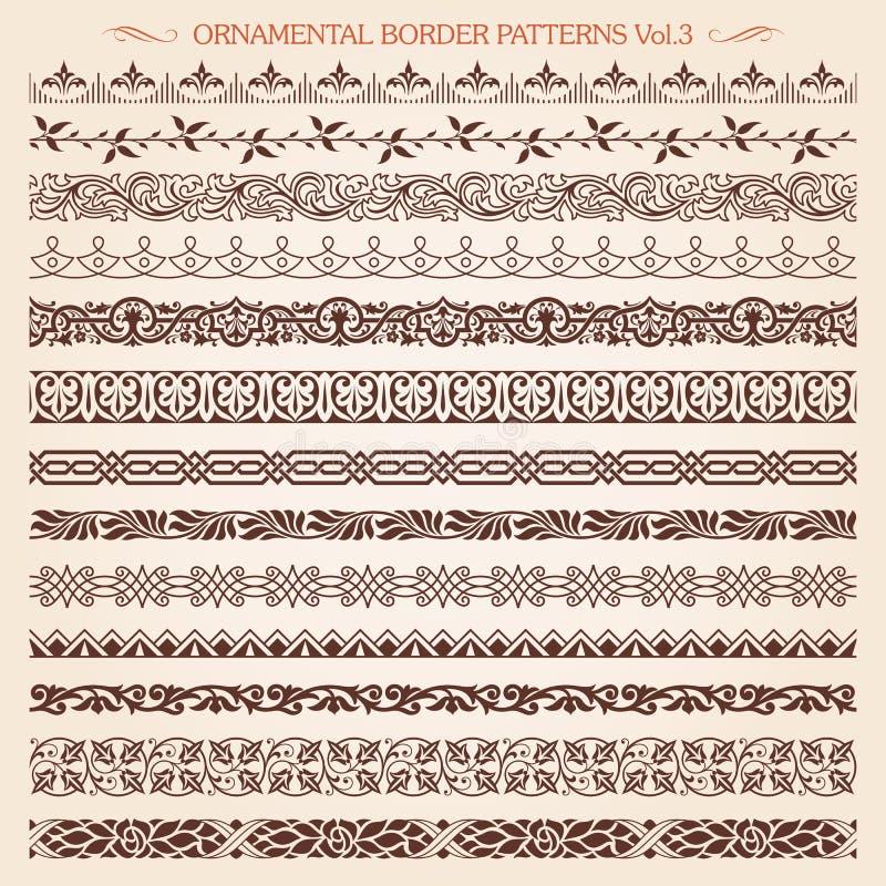 La línea de marco de la frontera ornamental vintage modela el vector 3 stock de ilustración