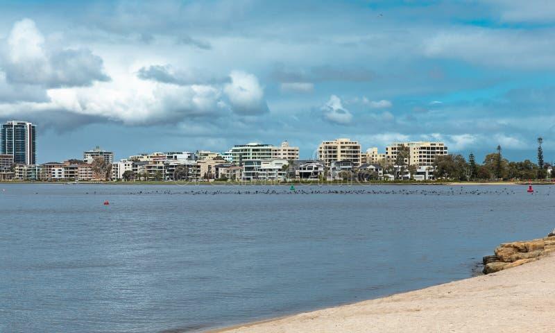 La línea de la playa del río del cisne en Perth, Australia occidental Perth c foto de archivo