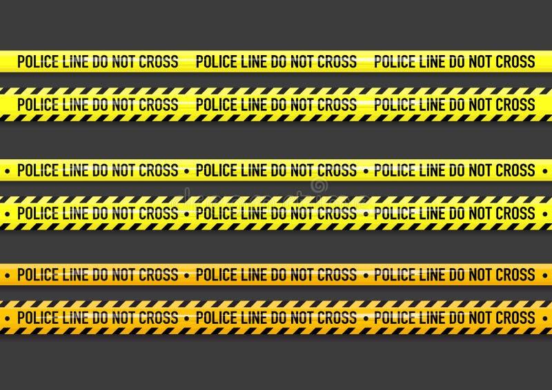 La línea de policía del vector no cruza la cinta stock de ilustración