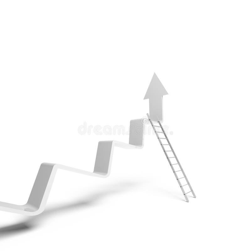La línea de tendencia quebrada que sube, escalera del metal se coloca que se inclina libre illustration