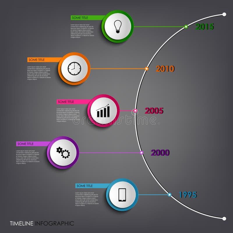 La línea de tiempo gráfico de la información coloreó la plantilla redonda abstracta ilustración del vector