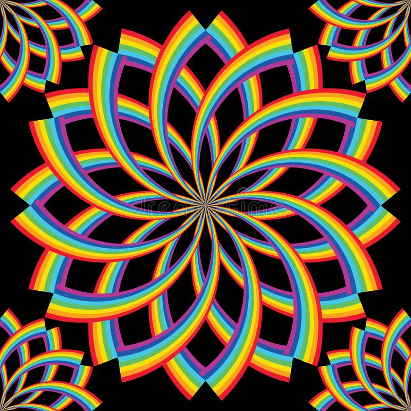 La línea del arco iris gira la simetría de la flor inconsútil ilustración del vector