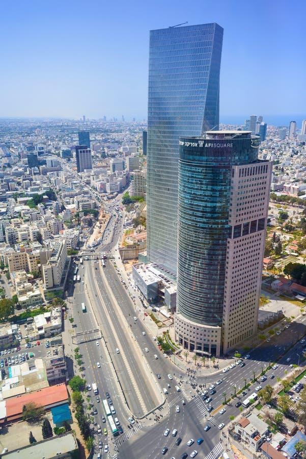 La línea del cielo de Midtown central Tel Aviv se eleva, cantidad aérea, Israel foto de archivo