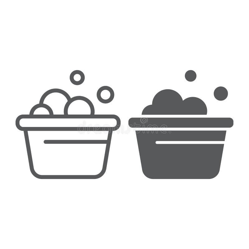 La línea del cubo del lavadero y el icono del glyph, limpian y se lavan, lavabo con la muestra de la espuma, gráficos de vector,  libre illustration