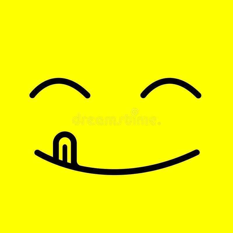 La línea deliciosa emoticon de la historieta del ejemplo del vector de la sonrisa con la lengua lame la boca Comida sabrosa delic stock de ilustración