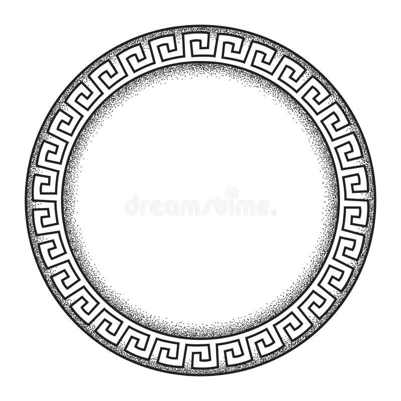 La línea dibujada mano ornanent griega antigua arte del meandro del estilo y el marco redondo del trabajo del punto diseñan el ej libre illustration