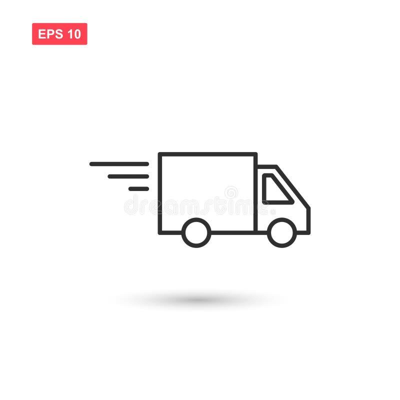 La línea diseño del camión de reparto del icono del vector aisló stock de ilustración