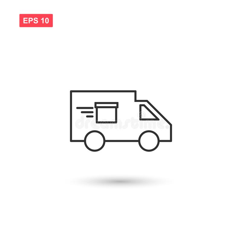 La línea diseño del camión de reparto del icono del vector aisló 2 stock de ilustración